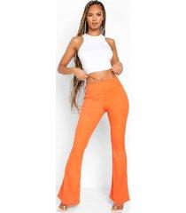 geribbelde broek met wijde pijpen, uitsnijding en taille detail, orange