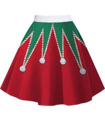 christmas snowman santa claus print a line skirt