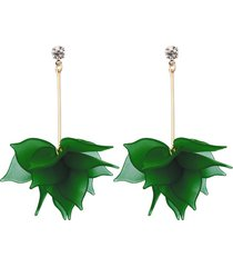 aretes largos mujer verde amme