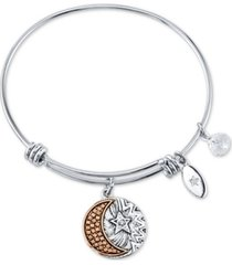 """unwritten """"you are my everything"""" moon and star multi-charm bangle bracelet in stainless steel and rose gold-tone stainless steel silver plated charms"""