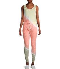 eleven paris women's dip-dyed cotton jumpsuit - tie dye multi - size l