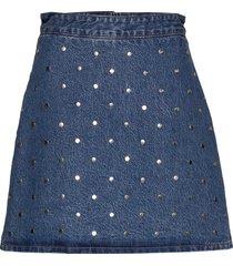 stud denim kort kjol blå ganni
