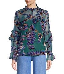 burnout velvet sheer blouse