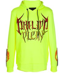 philipp plein sequin logo printed hoodie - yellow