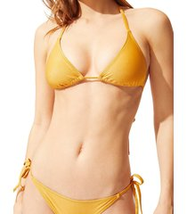 solid and striped women's the iris bikini bottom - glitter gold - size l