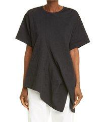 women's y's by yohji yamamoto n-drape asymmetrical crinkle t-shirt, size 2 - black