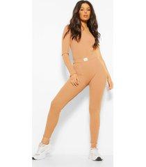 geribbelde leggings met naaddetail, geelbruin