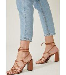 amaro feminino sandália amarração salto alto, caramelo