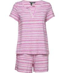 lrl sjort sl. split neckline boxer pj pyjama roze lauren ralph lauren homewear