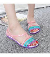 nuevos zapatos de plástico sandalias planas de verano de cristal