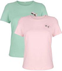 shirts per 2 stuks harmony jadegroen::roze