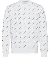 aop monogram crew neck sweat-shirt tröja vit calvin klein jeans