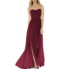 women's social bridesmaids strapless georgette a-line gown, size 14 - burgundy