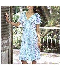 rayon tunic-style dress, 'azure helix' (indonesia)