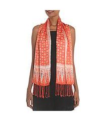 batik silk scarf, 'truntum majesty' (indonesia)