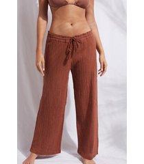 calzedonia lamé palazzo pants woman brown size s/m