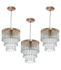 kit 3 lustre pendente de cristal acrílico manucrilic cobre