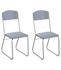 conjunto com 2 cadeiras byron cinza e cromado