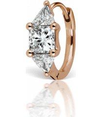 3mm triangle diamond earring - rose gold