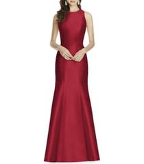 women's alfred sung dupioni trumpet gown, size 18 - red