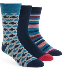 men's ted baker london waterfall assorted 3-pack crew socks, size one size - blue