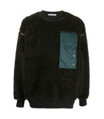 acne studios contrast pocket fleece sweatshirt - marrom