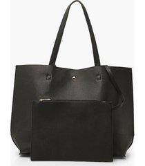 getextuurde pu tote bag & tablet case, zwart