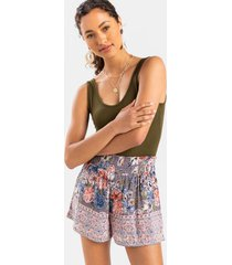 geonna floral border print shorts - black/white