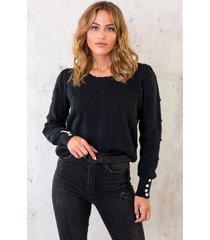 pompon trui zwart