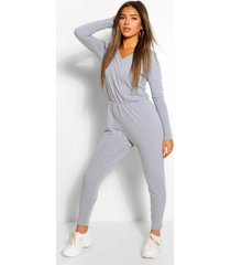 petite long sleeve basic jumpsuit, grey marl