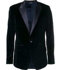 dolce & gabbana peak lapel velour blazer - blue