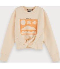 scotch & soda cotton-blend knot-front cropped sweatshirt