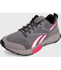 tenis running gris-blanco-rosa reebok levante trail