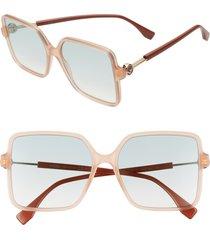 women's fendi 58mm gradient square sunglasses - brick cora/ grey green