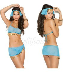 harem costume genie skirt top headpieice g string outfit set
