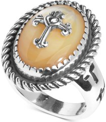 american west mother-of-pearl doublet cross ring in sterling silver