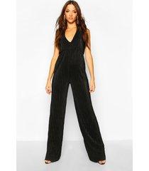 tall plissé plunge wide leg jumpsuit, black