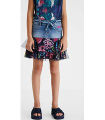 denim mini-skirt flounces - blue - 9/10