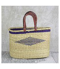 leather accented raffia tote bag, 'oval basket' (ghana)