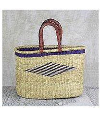 leather accented raffia tote bag, 'oval basket' (ghana)