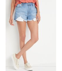 kancan™ womens classic high rise non-stretch medium wash 3in shorts blue - maurices