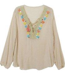 blusa plumeros beige jacinta tienda