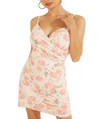 guess elsie printed faux-wrap bodycon dress
