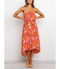 cuadrado con estampado floral al azar con cinturón cuello correa espagueti sin mangas vestido