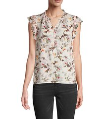 ruffle-sleeve silk-blend floral top