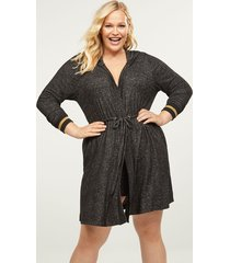 lane bryant women's brushed jersey sleep robe with metallic cuffs 26/28 dark grey
