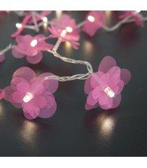 cordão de luz - luz de fada crie casa organza flower pink
