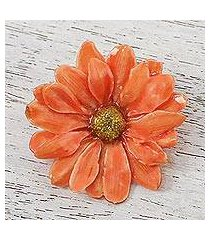 natural aster brooch pin, 'let it bloom in tangerine' (thailand)