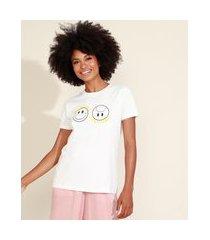 """t-shirt feminina mindset feeling good"""" manga curta decote redondo off white"""""""