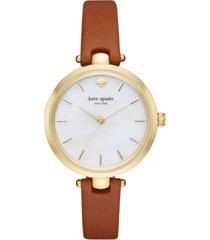 kate spade new york women's holland luggage leather strap watch 34mm ksw1156